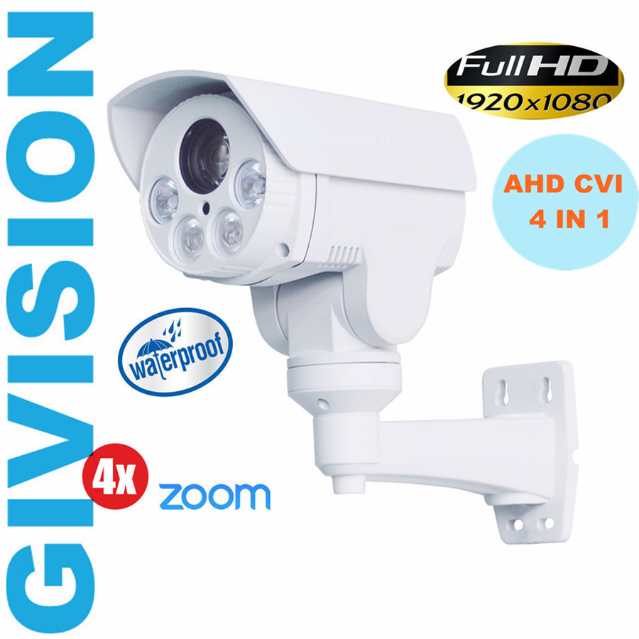 4 in 1 1080P AHD TVI CVI  PTZ Camera 2MP outdoor bullet 2.8-12mm Infared IR pan tilt Auto focus zoom security Surveillance cam ccdcam 4in1 ahd cvi tvi cvbs 2mp bullet cctv ptz camera 1080p 4x 10x optical zoom outdoor weatherproof night vision ir 30m