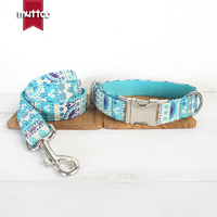 50pcs Lot MUTTCO Retailing Handmade High Quality Collar Fashionable Sapphire THE FOLK BLUE Dog Collars And