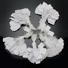 300 шт./упак. пустая белая ценников, Бумага карты ювелирные изделия часы Дисплей ярлыки для указания цены в силе IKEA с веревкой 23*13 мм