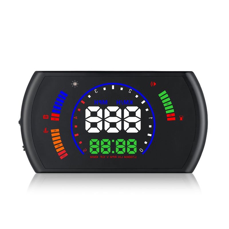 5.8 inch Car HUD OBD2 Digital Speedometer Car Windscreen Projector Head Up Display Fuel Speed RPM Voltage Alarm Two Display Mode