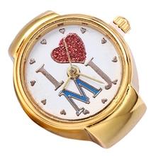 New! Woman Lady Golden Tone Spherical Elastic Alloy Quartz Watches Artistic Finger Ring Watch
