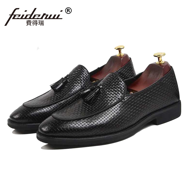 New Summer Round Toe Slip on Man Casual Shoes Genuine Leather Male Platform Loafers Handmade Breathable Men's Tassel Flats SS262 ltaly luxury brand men s handmade custom size casual loafers patent genuine leather tassel round toe driving flats shoes for man