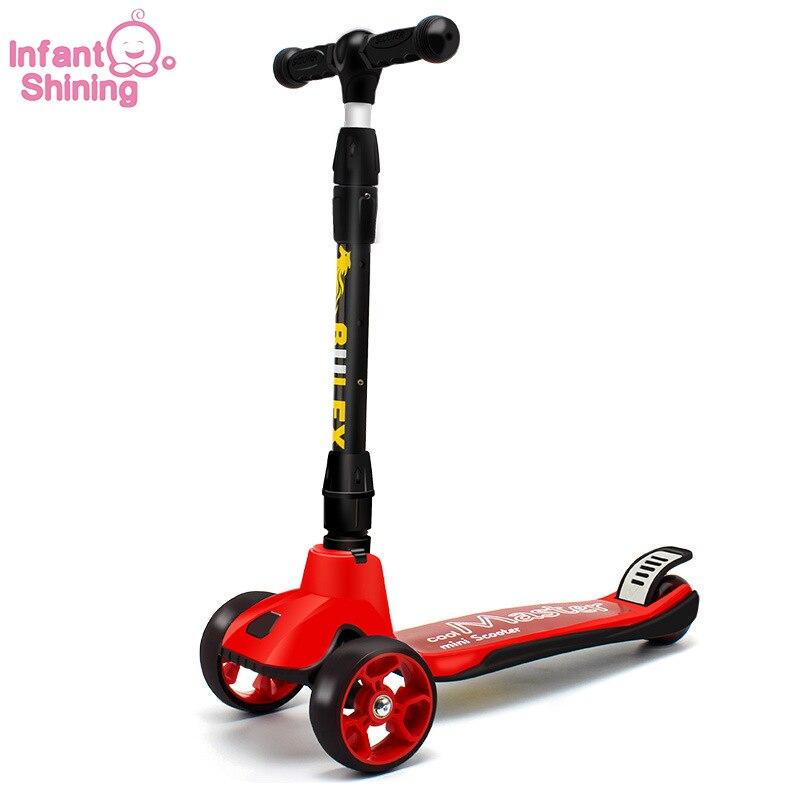 Bébé brillant enfants Scooter 2-6 ans bébé marcheur un clic pliant enfants Tricycle 3 roues bébé Scooter monter sur la voiture