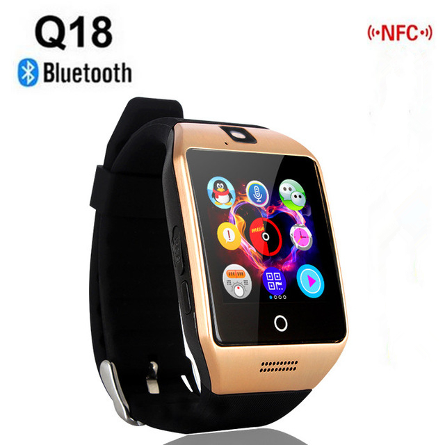 NFC Smart Watch Q18S Arc Clock With Sim TF Card <font><b>Bluetooth</b></font> Connection for iphone Android Phone Smartwatch PK GV18 DZ09 <font><b>T11</b></font> M26