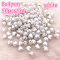 50 шт., 8x4 мм, белый цвет, глянцевые зеркальные бусины, аксессуары для браслетов