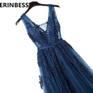Image 2 - Vestido De Festa V Neck Cap Sleeve Vintage Lace Appliques Beaded Navy Blue Bridesmaid Dresses Women Formal Party Gowns