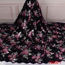 Tissu en dentelle velours pour robes, en Tulle français nigérian, en Tulle, avec paillettes, tissu africain de haute qualité, APW2666B 1