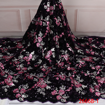 Velvet Lace Fabric for Dresses Latest Nigerian French Tulle Lace with Sequin High Quality African Sequins Lace Fabric APW2666B-1