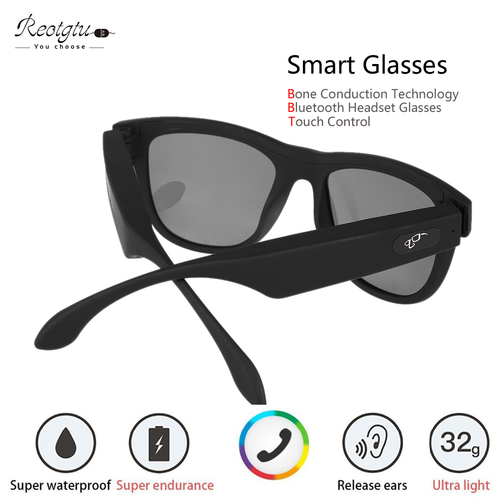 6d8404cb01 Reotgtu Bone-Conduction Earphone Bluetooth Sunglasses Speaker Bluetooth  Smart Health Sports Wireless Headphones with Microphone
