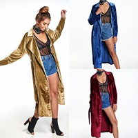 Women Chic Velvet Coat Overcoat Outwear Party Clubwear Trench Solid Long Smooth Cardigan Outwear Slim Fit Oversize 3Colors A590