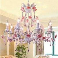 Air Mediterranean Garden Villa Duplex Living Room Lighting Iron Flower Bedroom Dining Room Lamp Rose Crystal