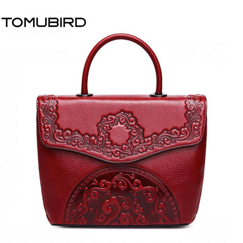 TOMUBIRD Superior cowhide Embossed Flowers famous brand women bag first layer genuine leather handbags shoulder bag