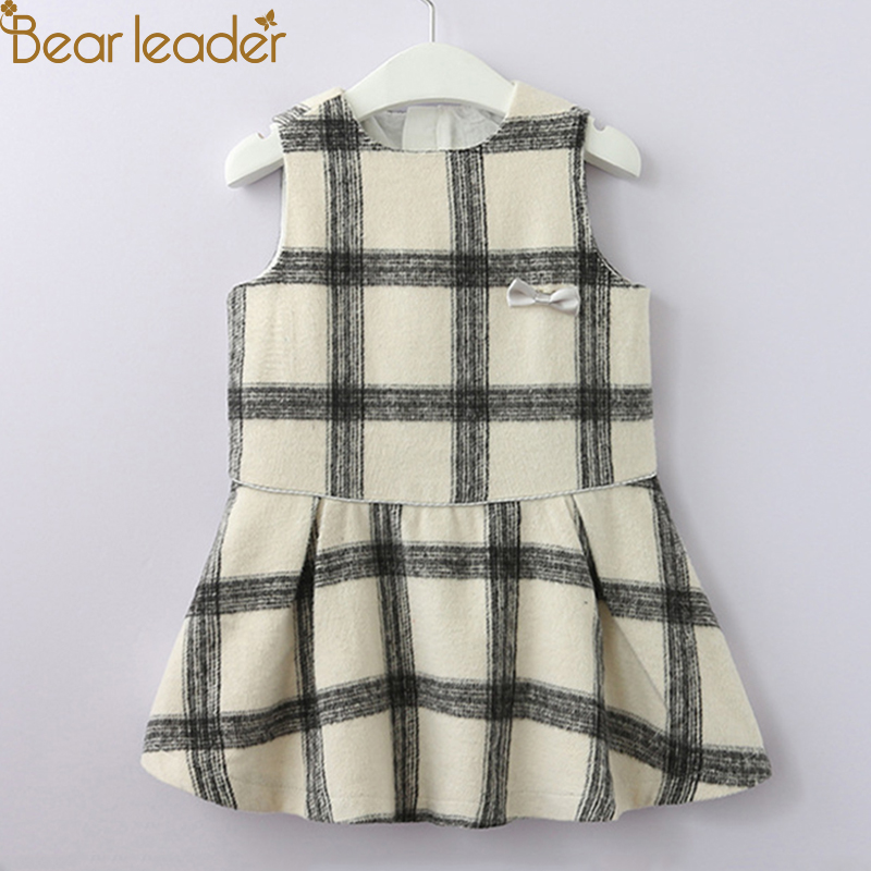 Bear Leader Girls Dress 2018 New Autumn European And American Style Bow Kids Dress Sleeveless Plaid Vest dress For 2T-6T stylish sleeveless plaid color block mini dress for women