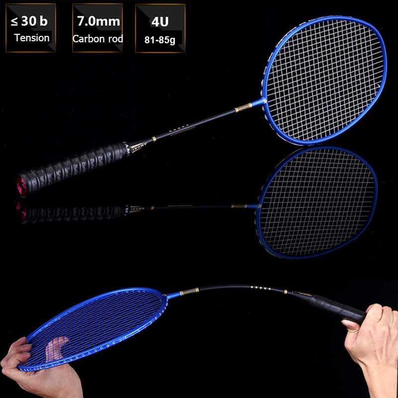 1 PCS Carbon Fiber Badminton Racket Professional Training Racquet With String Bag 4U 22-30LBS Sports Men's Z Speed With Gift