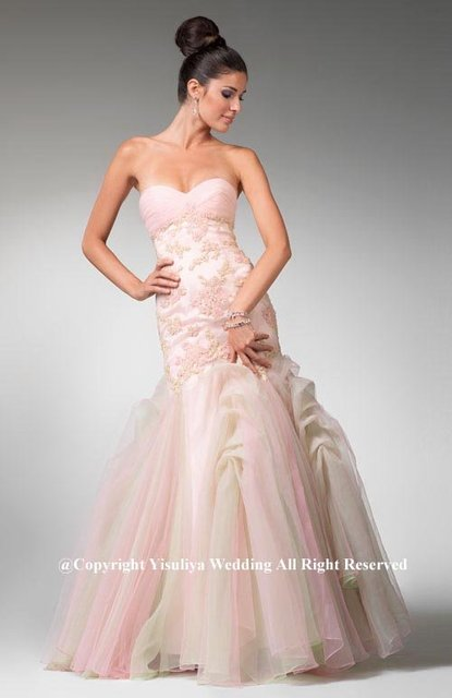 2011 Unique Sexy Mermaid Ruched Neckline Appliqued Prom Gown