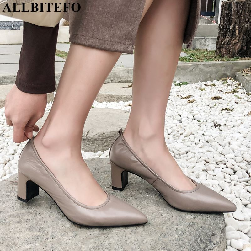 ALLBITEFO soft genuine leather women high heel shoes fashion casual girls high heels comfortable spring women