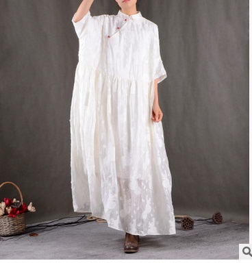 New product launches in the spring of 2017, the original design loose big yards silk linen leisure women dress
