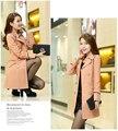 2015 New Spring Autumn Women Coat Medium-Long Trenchcoat Sashes Thin Women Casual Dress Coat For Women Slim Trench Tree Shipping