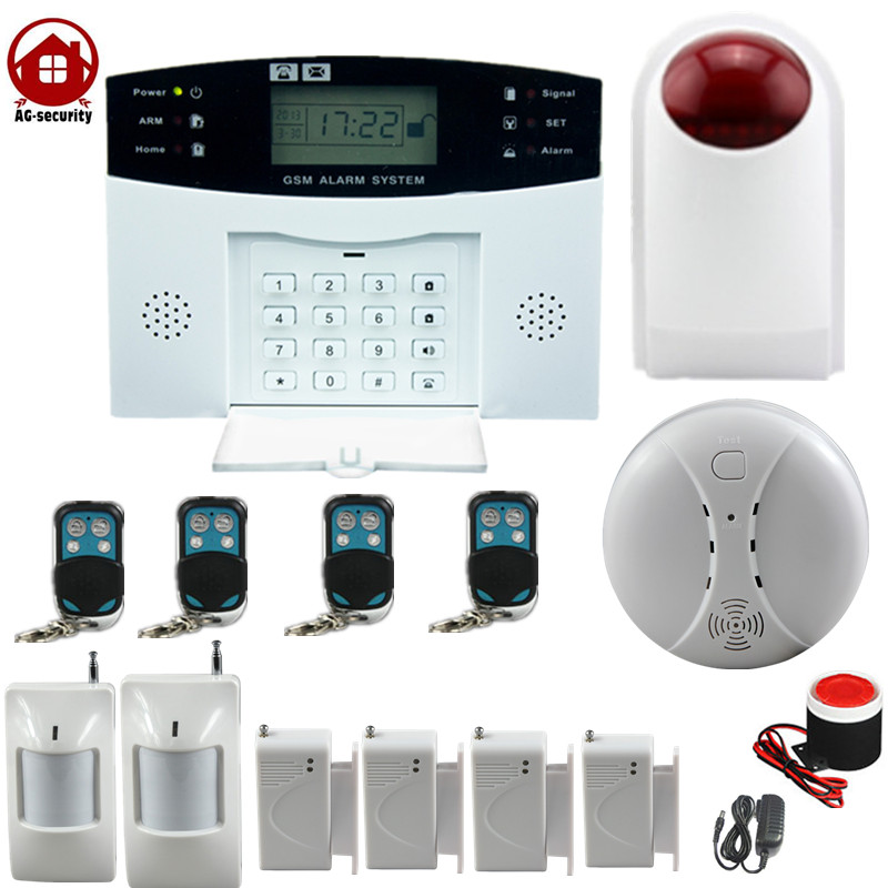 gsm wireless home burglar security alarm Detector Sensor Kit smoke detector outdoor siren home security system gsm lcd wireless 433 smart burglar security alarm system detector sensor kit remote control auto dial sms outdoor siren