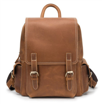 Nesitu New High Quality Vintage Brown Thick Genuine Crazy Horse Leather A4 Women Men's Backpack Real Skin Travel Bags M1024