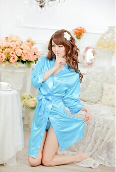 2014 Real Kimono 5 Colors Sexy Women Ladies Open Front Solid Lingerie Set  Robe Underwear Pyjamas Nightwear Soft Sleepwear Tong -in Robes from  Underwear ... 7d4ba8fcf