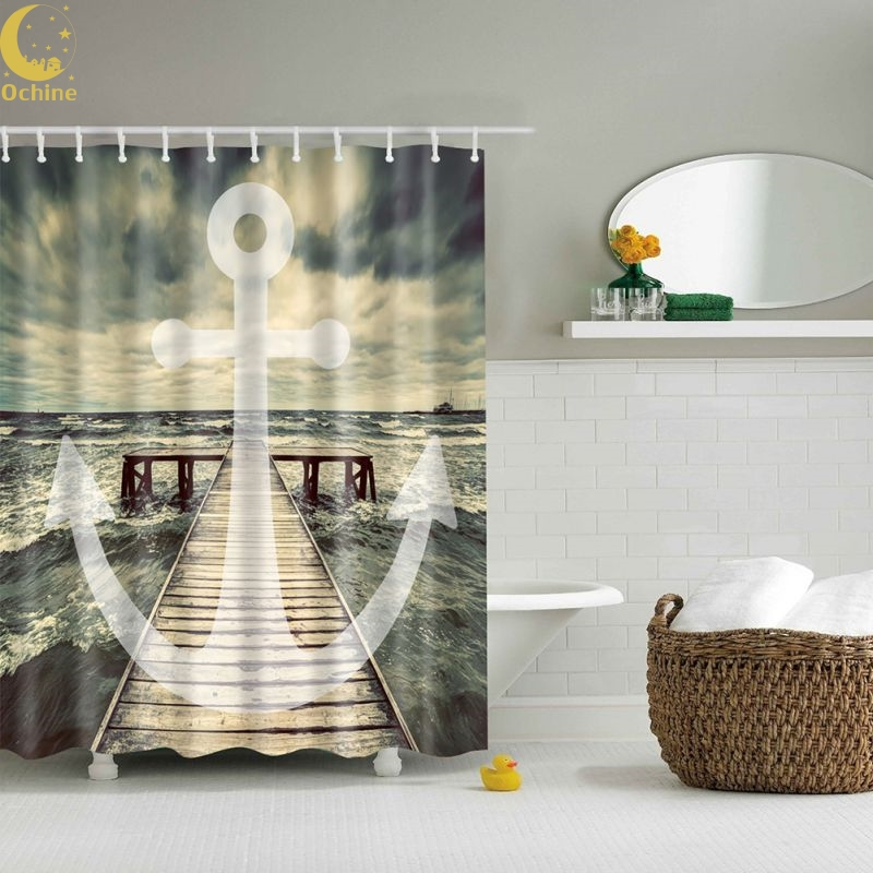 OCHINE 180x 180CM Waterproof Mildewproof 3D Nautical Anchor /Map Print Bathroom Set Fabric Shower Curtain With Hooks