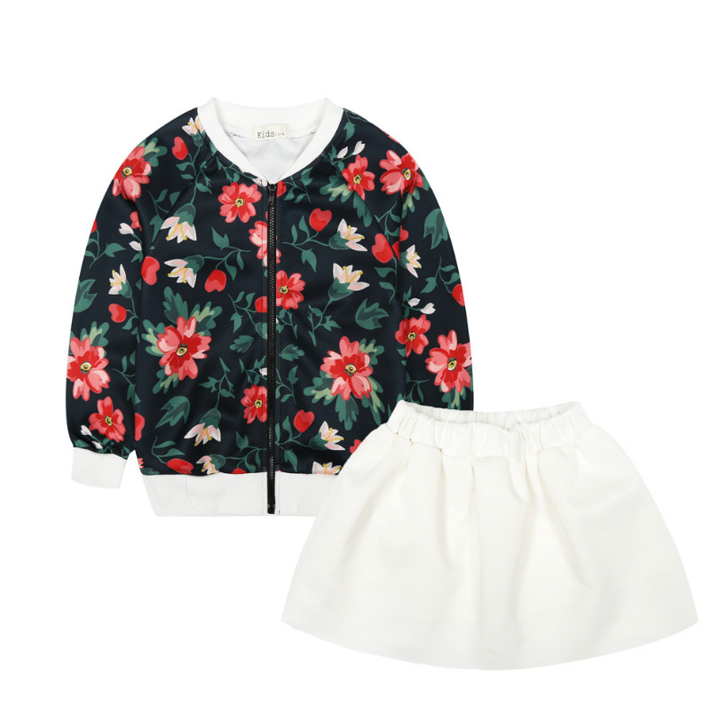 print flower girl dress clothing set bomber jacket coat skirt 2cp spring autumn outfits tutu party hip pop clothes for girls kid