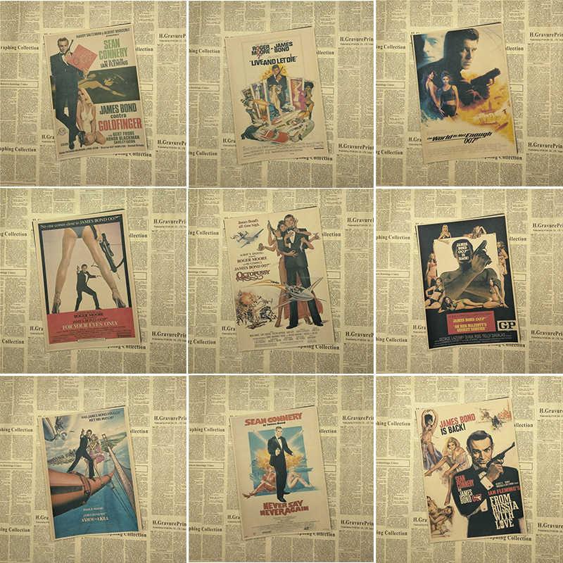 007 Series James Bond Pierce Brosnan Classic Movies Home Furnishing Decoration Kraft Poster Drawing Core Wall Stickers Part 1