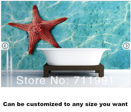 Free shipping Orange Starfish Wall Mural Wallpaper image