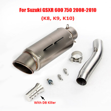 GSXR 600 750 Motorcycle Exhaust Tip Muffler Silencer Mid Link Tube Pipe Slip on for Suzuki 2008 2009 2010