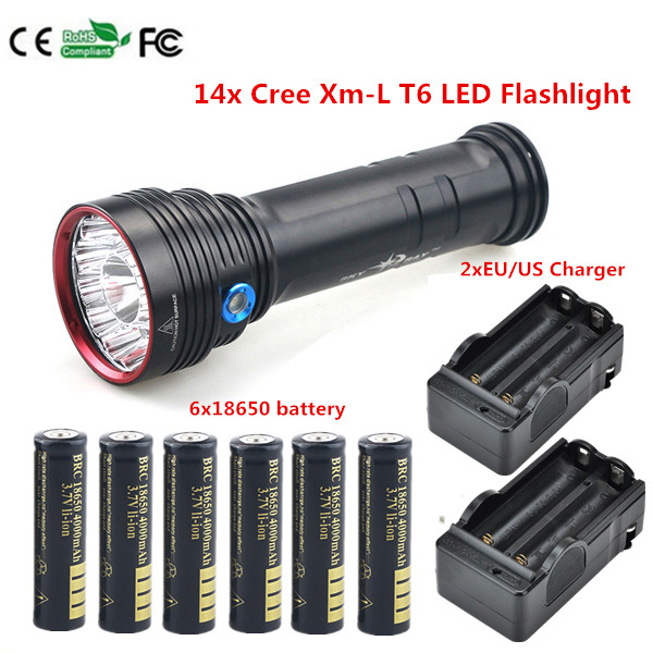 Best 20000 LM 14x Cree xml T6 LED Flashlight Torch Tactical Hunting Strong light Camping +18650 Battery + Charger crazyfire led flashlight 3t6 3800lm cree xml t6 hunting torch 5 mode 2 18650 4200mah rechargeable battery dual battery charger page 9