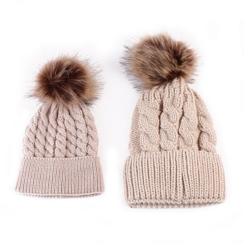0c65aa8106789 Mom and Baby Matching Knitted Hats Warm Fleece Crochet Beanie Hats Winter  Mink PomPom Kids Children Mommy Headwear Hat Caps