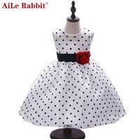 Aile conejo nueva llegada 2017 princesa Summer Girl vestido clásico blanco negro lunares niños bailando Vestidos para niña