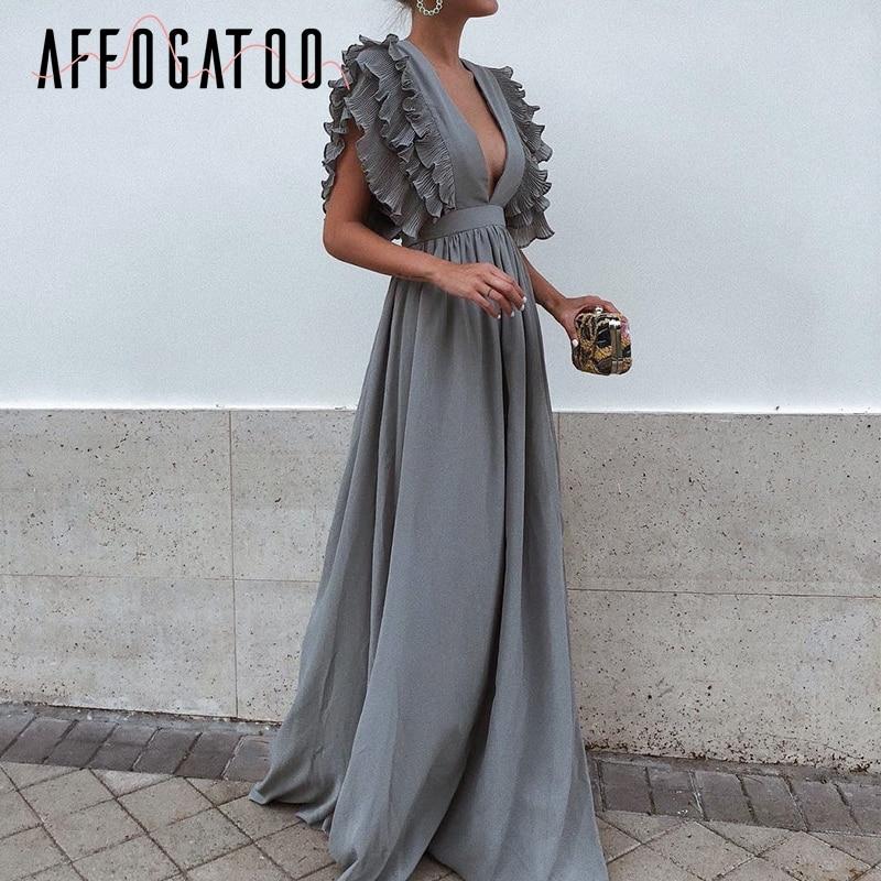 Affogatoo Elegant Deep V Neck Long Dresses Women Ruffles High Waist Casual Maxi Dress Sexy Evening Party Female Vestidos 2018