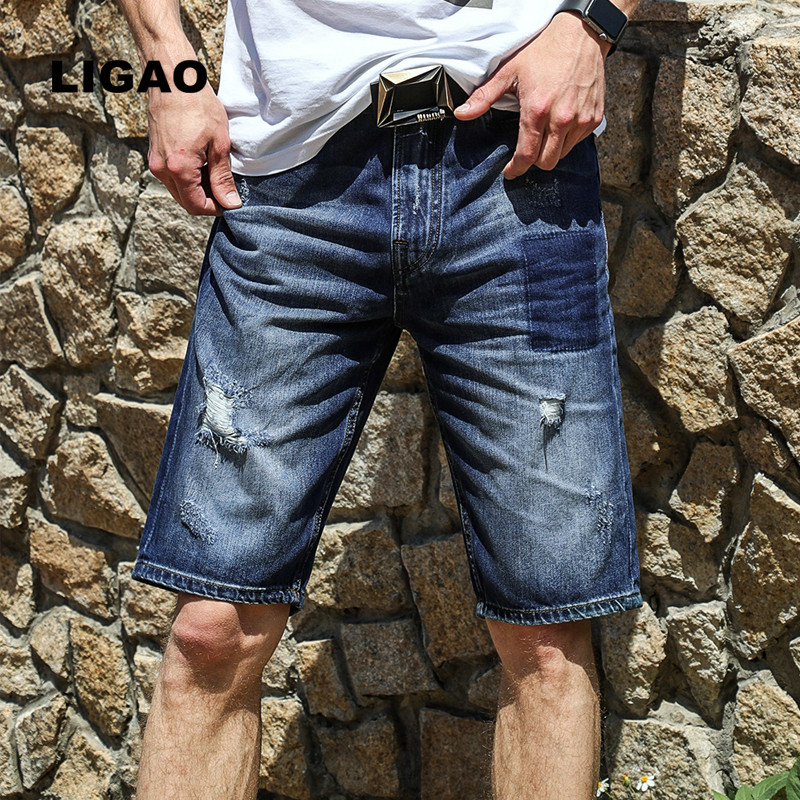 828401 LIGAO Mens Jeans 2018 Summer Breathable Patched Scratched Ripped Hole Men Shorts Jeans Travel Knee Length Men Jeans
