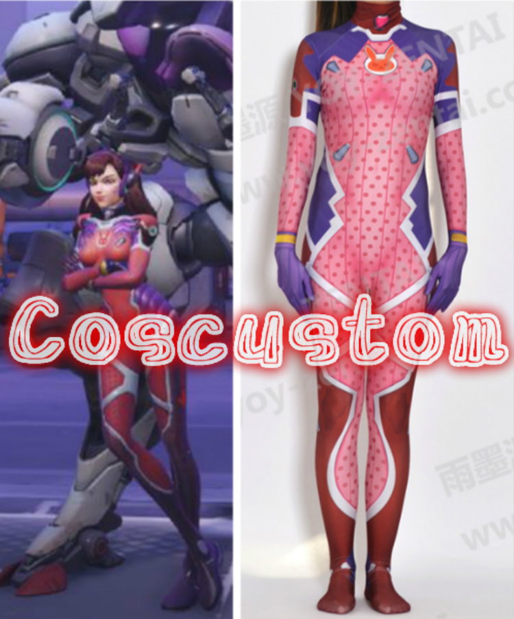 Coscustom High Quality D.VA Costume 3D Print D.VA White Rabbit Costume Skin Bodysuit Spandex Lycra Halloween Cosplay Costume