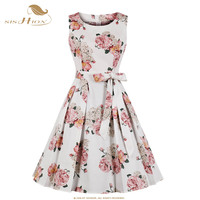 SISHION Floral Print Vintage Dress VD1063 Sleeveless Plus Size Cotton Beach Pleated Women Summer Dress White women clothes 2019