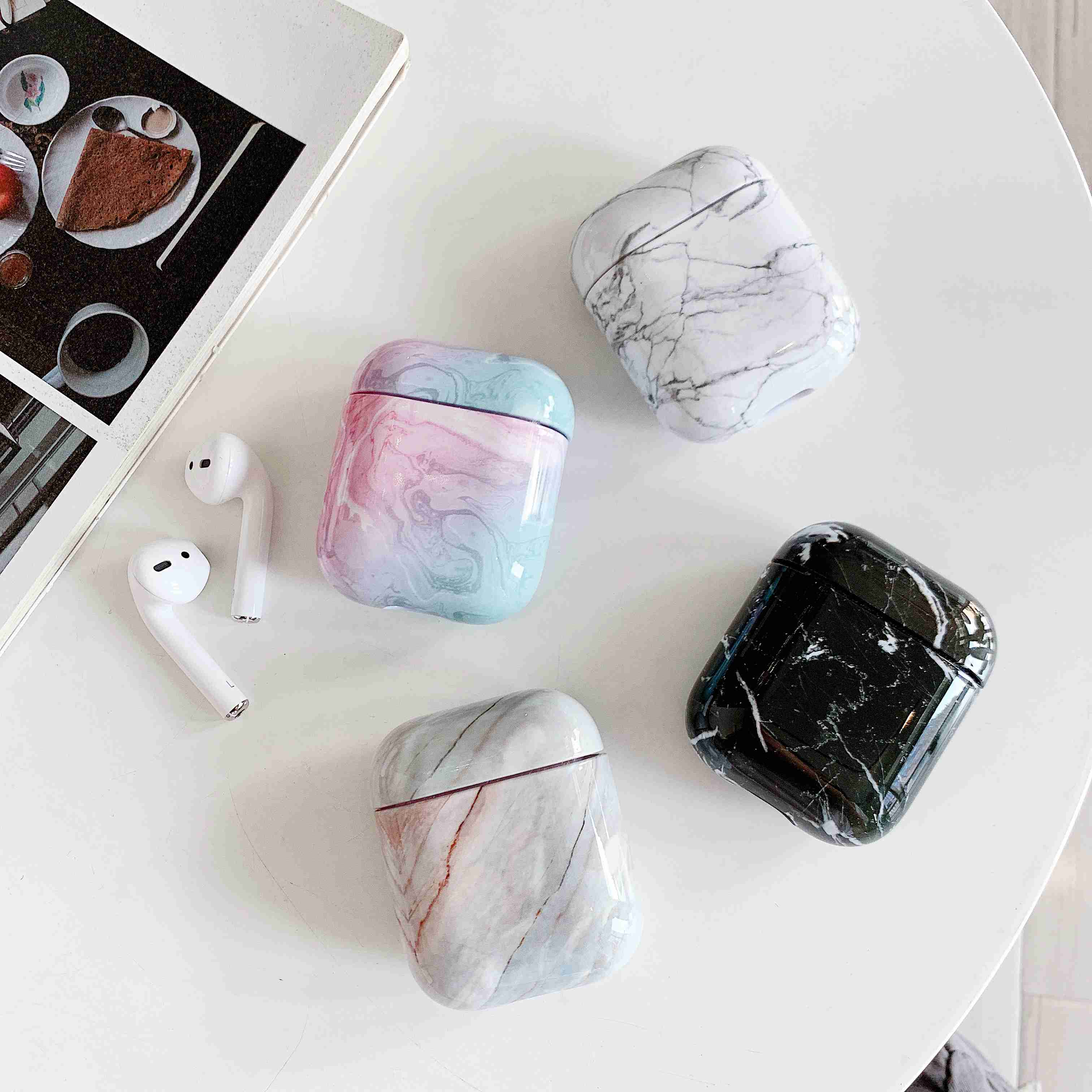 Case For Original Apple Airpods Case Marble Cute Cover For Apple Airpods 2 1 Case Accessories Headphone Air Pods Case Box Coque sticker