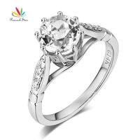 Павлин звезда 14 К Белое Золото Свадебные Обручение Ring 1.2 ct топаз бриллиантами 0.1 ct природных