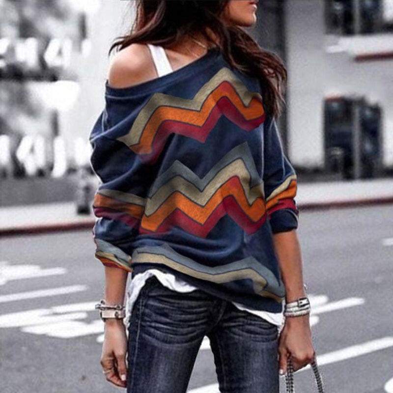 Spring Sweater Women Casual Long Sleeve Sexy Off Shoulder Sweater  1
