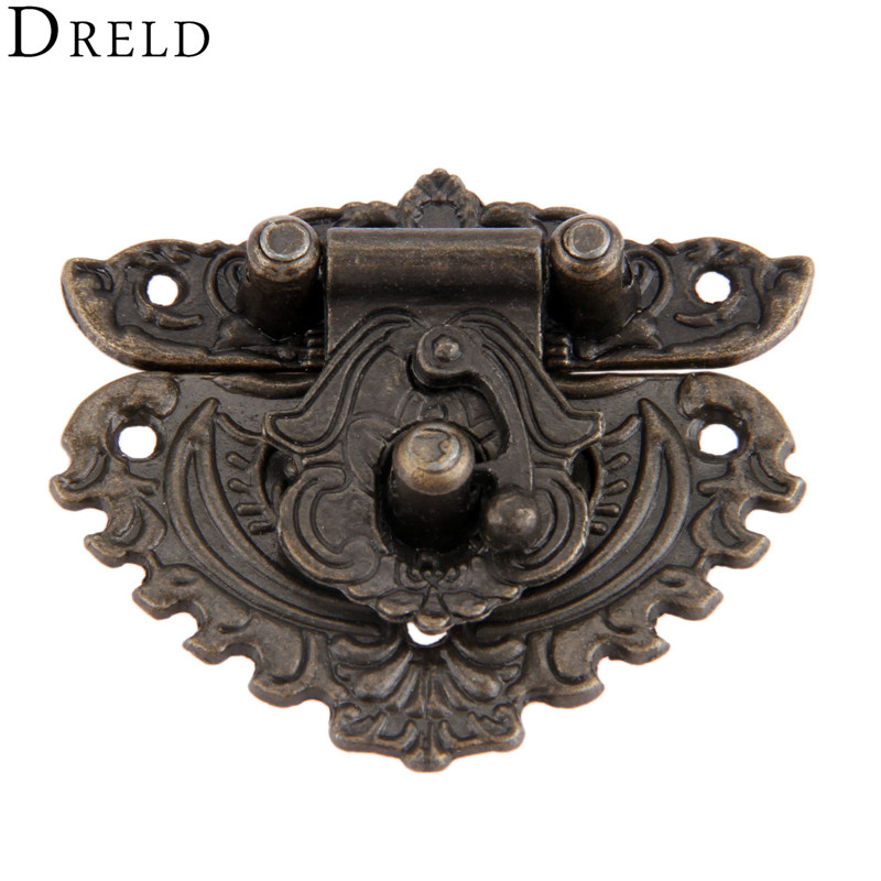 DRELD 50*56mm Antique Box Hasps Lock Catch Latches for Jewelry Chest Box Suitcase Buckle Clip Clasp Vintage Funiture Hardware