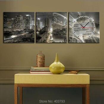 Cityscape At Night Modern Decor Clock Canvas Print 3 Panel Set Triptych No Frame