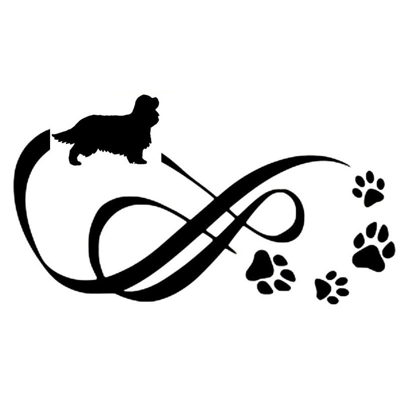 18*10CM Cavalier King Charles Spaniel Animal Paw Print Car Stickers Vinyl Decal Car Styling Decoration Black/Silver S1-0699 tatonka cavalier black