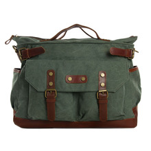 ROCKCOW Canvas Leather Briefcase Messenger Bag, Waxed Canvas Laptop Bag Travel Briefcase 1858