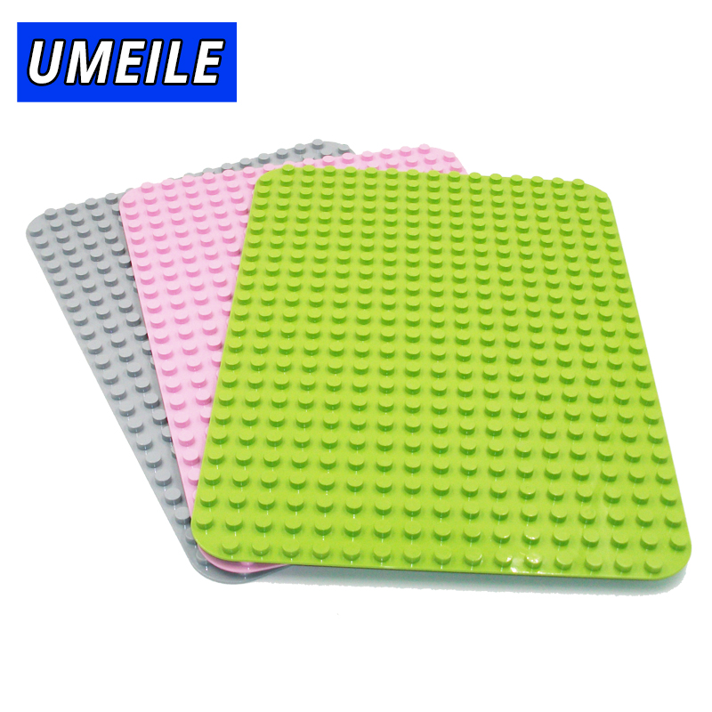 UMEILE Big Baseplate Block Rectangle 404 Dot 27cm*38.3cm Rectangle Diy Base Plate Kids Toys Compatible With Duplo Gift gorock 527 dots large size baseplate big base plate exlarge brick solid plate building block toys compatible duplo for kids gift