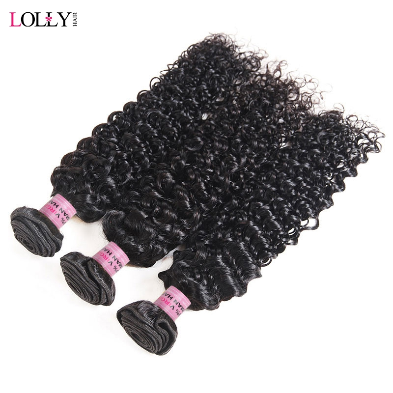 Lolly 3 Bundles Deal Kinky Curly Hair Bundles Indian Human Hair Weave Bundles Natural Color Pre-Colored Hair Weave Extensions