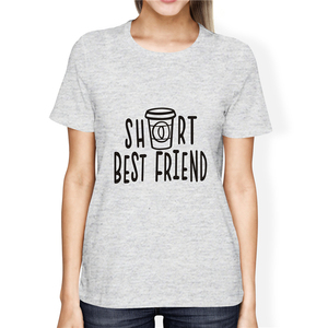 SexeMara Women Cute Best Friend Tall and Short Matching Letter T-Shirt BFF Shirt Lovers Tee Shirt Femme Cotton Plus Size S-3XL