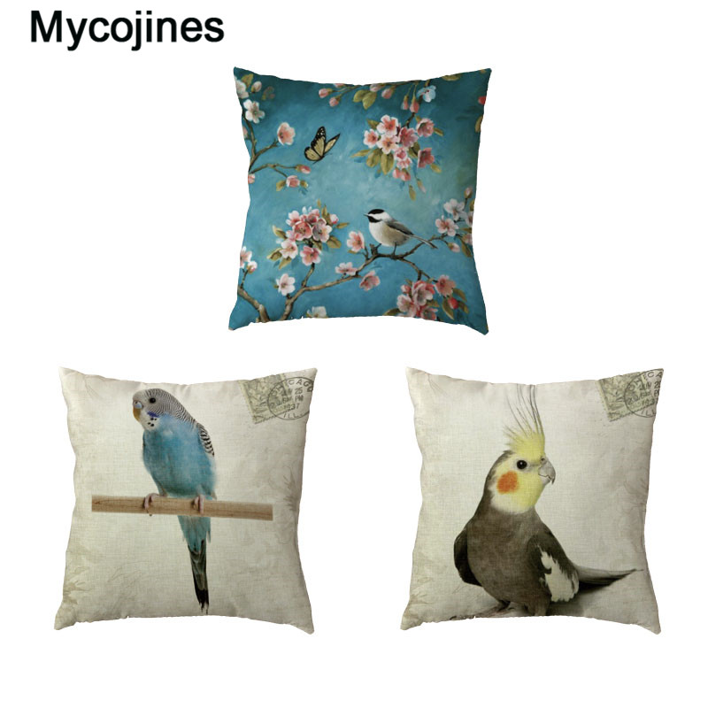 Vintage Parrot White Throw Pillow Case Famous Bird Stamp Pillowcases Printed Home Decor Polyester Peach Skin Gifts Cushion Cover