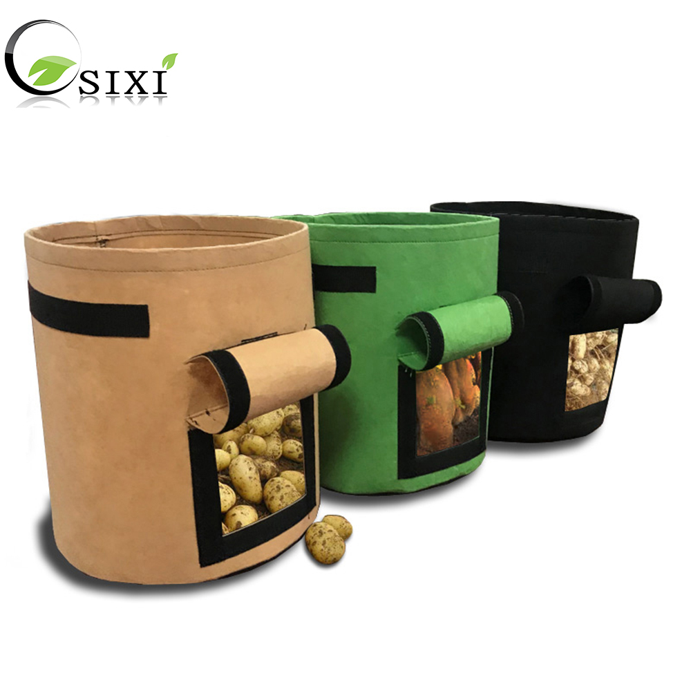 5PCS Plant Grow Bag Potato Grow Planter PE Cloth Tomato Planting Container Bag Thicken Garden Pot Garden Supplies