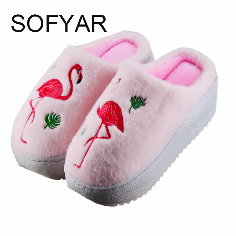 Cotton slipper female winter thick base platform height fluffy slippers  fashion warm indoor antiskid shoes at home animal shoes